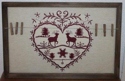 Rood brocante borduurwerk m knijpers v kerstkaarten