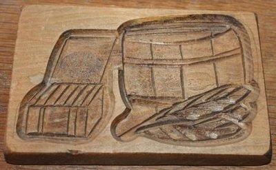 Oude brocante houten speculaasplank, -vorm sigaren