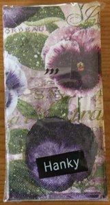 Brocante papieren zakdoekjes viooltjes bloemen