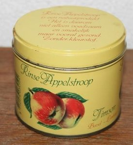 Oud geel brocante blikje Rinse appelstroop Timson