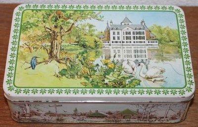 Oud brocante koekblik Verkade kasteel, natuur, dieren