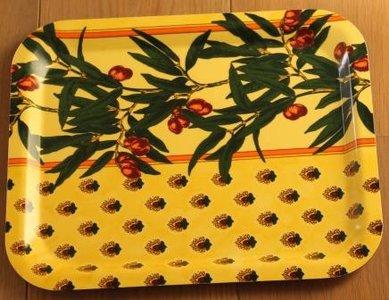Landelijk brocante dienblaadje zomers geel olijven