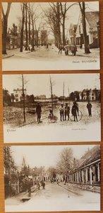 3 Oude brocante sepia foto ansichtkaarten Hilversum