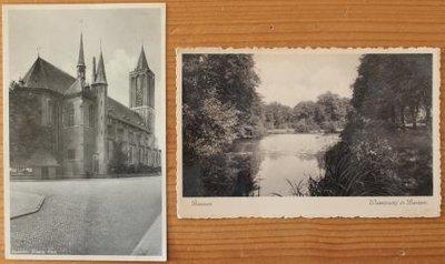 2 Oude brocante zwart wit foto ansichtkaarten Bussum