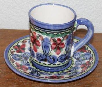 Brocante kop en schotel blauwe bloemen De Pul