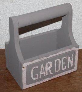 Brocante houten grutters-/mangelbakje Garden grijsbruin