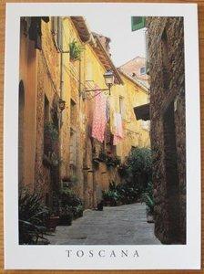 Brocante ansichtkaart straatje in Toscane onbeschreven