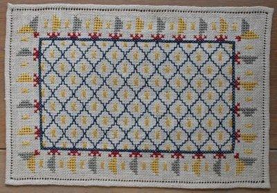 Antiek brocante geborduurd rechthoekig kleedje