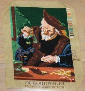 Brocante borduurwerk schilderij De goudweger, gereed