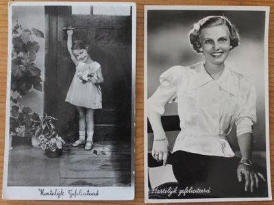 2 Oude brocante felicitatiekaarten vintage zwart wit foto dame