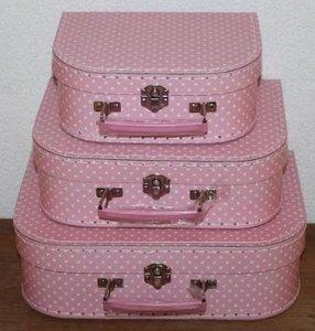 Kinderkoffertje, roze m witte stippen, polkadots M