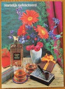 Oude ansichtkaart verjaardag man drank, pijp onbeschreven