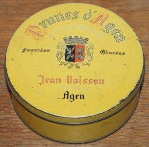 Oud geel Frans brocante koekblik Prunes d'Agen