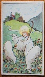 Oud Frans brocante religieus decoratief prentje kaartje I