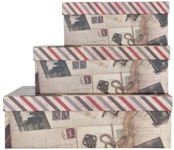 Brocante kartonnen opbergdoos foto's & post, klein