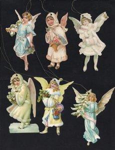 6 Brocante cadeaulabels kerst engeltjes in pastel