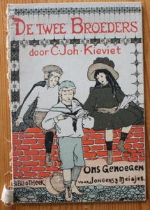 Oude brocante boekenkaft De twee broeders, deco