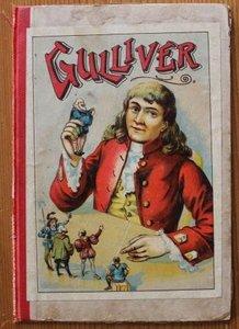 Oude brocante boekenkaft Gulliver, deco prentje