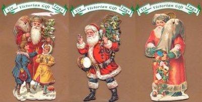 6 Brocante cadeaulabels kerstmannen in rood 2