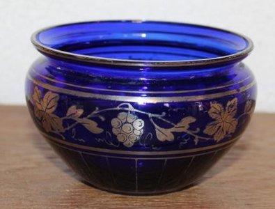 Oude brocante blauwe glazen schaaltje zilver overlay