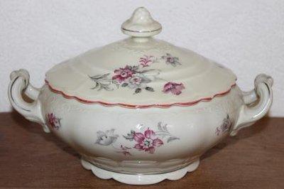 Oude brocante serveerschaal m deksel roze grijze bloemen