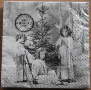 Brocante kerst servetten vintage engeltjes Sagen 33x33 cm