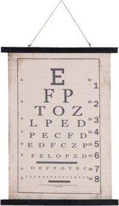 Brocante schoolplaat wandkaart letters oogarts 55x2x75 cm