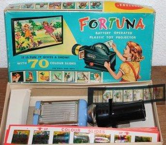 Oude brocante doos speelgoed diaprojecter Fortuna
