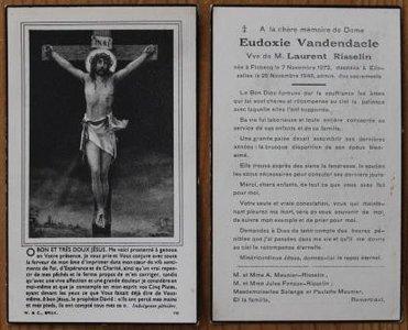 Oud brocante bidprentje Jezus aan het kruis 1946