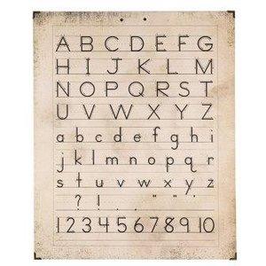 Brocante schoolplaat, wandkaart op hout letters cijfers 63x50 cm