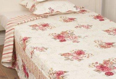 Brocante beddensprei, plaid m roze roosjes 140x220 cm