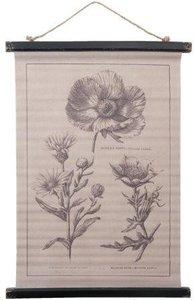 Brocante schoolplaat wandkaart bloemen 49x2x81 cm