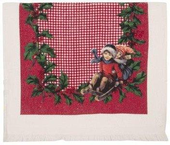 Brocante handdoekje Kerst kindjes op slee en hulstblaadjes Clayre & Eef