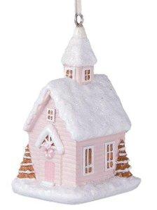 Brocante kerstboom hanger lichtroze huisje, kerkje Clayre & Eef
