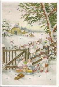 Adventskalender kaart kerst engelen spelen met geschenken m glitters