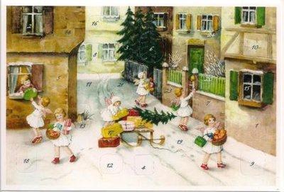 Adventskalender kaart kerst engelen bezorgen geschenken m glitters