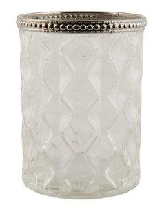 Brocante waxinelichthouder reliëf glas windlichtje zilver rand