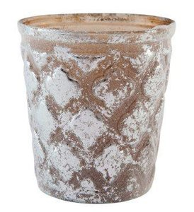 Brocante waxinelichthouder reliëf glas windlichtje brons & zilver