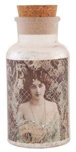 Brocante glazen fles, pot vintage dame met kurk