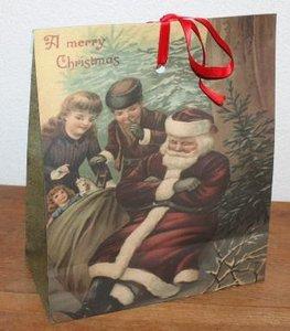 Brocante cadeautasje, gift bag vintage kindjes met kerstman