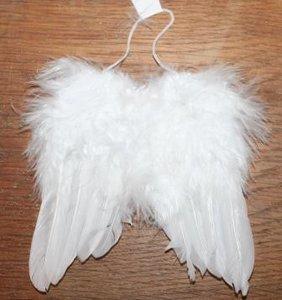 Brocante engelenvleugels witte veren met dons, 14x11 cm
