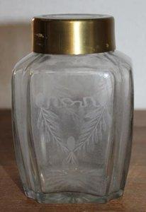 Brocante geslepen glazen voorraad-/opbergpot koperen dop