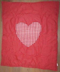 Baby boxkleed rood witte stippen en ruitjes met hartje