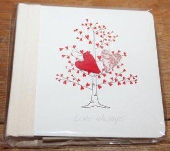 Fotoboekje, album Love always, boom met rode hartjes