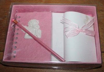 Cadeauverpakking schrijfset m engeltje, briefpapier, roze