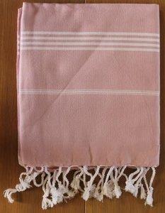 Lichtroze hamam doek, strandlaken, kleed, witte strepen 100x180 cm