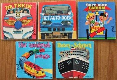 Set v 5 oude brocante Pixi kinderboekjes Vervoer