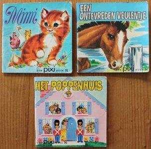 Set v 3 oude brocante Pixi kinderboekjes Dieren & Poppen