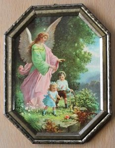 Oud religieus brocante kleurenprentje engel m kindjes