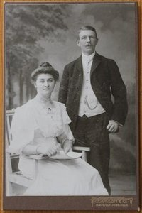 Antieke oude vintage brocante sepia foto echtpaar 2